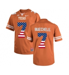 Texas Longhorns 7 Shane Buechele Orange USA Flag College Football Limited Jersey