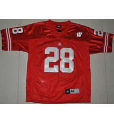 Badgers #28 Montee Ball Red Embroidered NCAA Jersey
