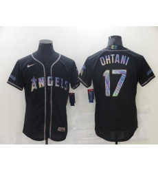 Men's Los Angeles Angels of Anaheim #17 Shohei Ohtani Black 2021 Iridescent Logo Jersey