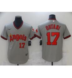 Men's Nike Los Angeles Angels #17 Shohei Ohtani Gray Throwback Baseball Jersey