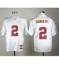 Florida State Seminoles Deion Sanders 2 White College Football Throwback Jersey