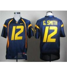 NCAA West Virginia Mountaineers Geno Smith 12 blue College Football Jerseys