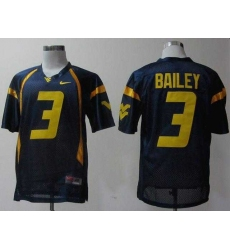 NEW West Virginia Mountaineers Stedman Bailey 3 Blue College Football Jerseys