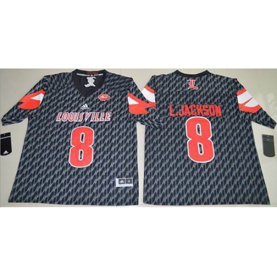 Louisville Cardinals #8 Lamar Jackson Black AAC Patch Stitched NCAA Jersey