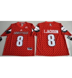 Louisville Cardinals #8 Lamar Jackson Red AAC Patch Stitched NCAA Jersey