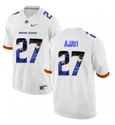 Boise State Broncos #27 Jay Ajayi White With Portrait Print College Football Jersey