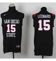 San Diego State Aztecs #15 Kawhi Leonard Black Basketball Stitched NCAA Jersey