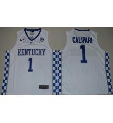 Kentucky Wildcats #1 John Calipari White Basketball Elite Stitched NCAA Jersey