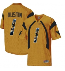 West Virginia Mountaineers #1 Tavon Austin Gold With Portrait Print College Football Jersey