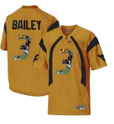 West Virginia Mountaineers #3 Stedman Bailey Gold With Portrait Print College Football Jersey