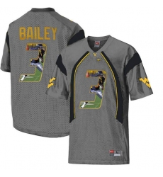 West Virginia Mountaineers #3 Stedman Bailey Gray With Portrait Print College Football Jersey