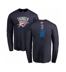 Basketball Oklahoma City Thunder #3 Chris Paul Navy Blue Backer Long Sleeve T-Shirt