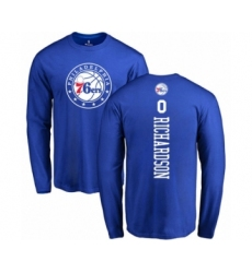 Basketball Philadelphia 76ers #0 Josh Richardson Royal Blue Backer Long Sleeve T-Shirt