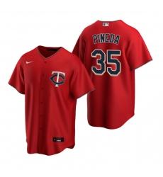 Men's Nike Minnesota Twins #35 Michael Pineda Red Alternate Stitched Baseball Jersey