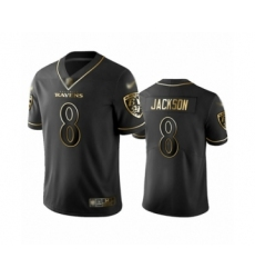 Men's Baltimore Ravens #8 Lamar Jackson Limited Black Golden Edition Football Jersey