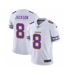 Men's Baltimore Ravens #8 Lamar Jackson White Team Logo Cool Edition Jersey