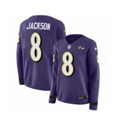 Women's Nike Baltimore Ravens #8 Lamar Jackson Limited Purple Therma Long Sleeve NFL Jersey