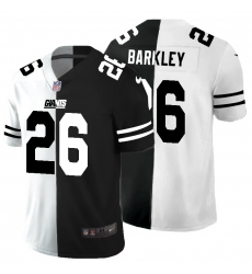 Men's New York Giants #26 Saquon Barkley Black White Limited Split Fashion Football Jersey