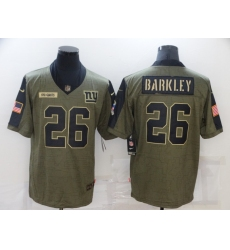 Men's New York Giants #26 Saquon Barkley Nike Olive 2021 Salute To Service Limited Player Jersey
