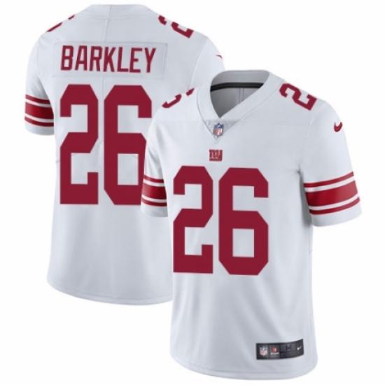 Men's Nike New York Giants #26 Saquon Barkley White Vapor Untouchable Limited Player NFL Jersey
