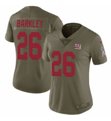 Women's Nike New York Giants #26 Saquon Barkley Limited Olive 2017 Salute to Service NFL Jersey