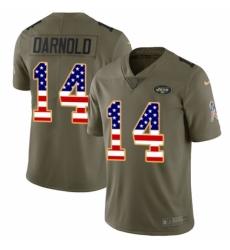 Men's Nike New York Jets #14 Sam Darnold Limited Olive/USA Flag 2017 Salute to Service NFL Jersey