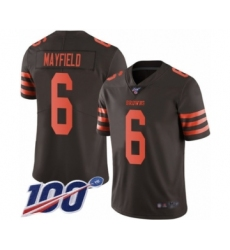 Men's Cleveland Browns #6 Baker Mayfield Limited Brown Rush 100th Season Vapor Untouchable Football Jersey