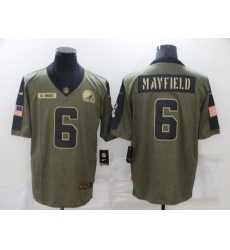 Men's Cleveland Browns #6 Baker Mayfield Nike Olive 2021 Salute To Service Limited Player Jersey