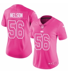 Women's Nike Indianapolis Colts #56 Quenton Nelson Limited Pink Rush Fashion NFL Jersey