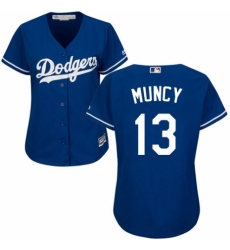 Women's Majestic Los Angeles Dodgers #13 Max Muncy Authentic Royal Blue Alternate Cool Base MLB Jersey