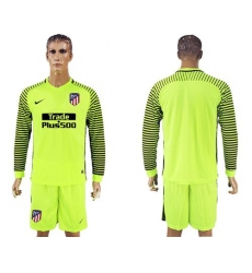 Atletico Madrid Blank Shiny Green Goalkeeper Long Sleeves Soccer Club Jerseys