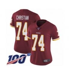 Women's Washington Redskins #74 Geron Christian Burgundy Red Team Color Vapor Untouchable Limited Player 100th Season Football Jersey