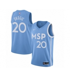 Men's Minnesota Timberwolves #20 Josh Okogie Swingman Blue Basketball Jersey - 2019 20 City Edition