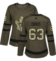 Women's Adidas Toronto Maple Leafs #63 Tyler Ennis Authentic Green Salute to Service NHL Jersey