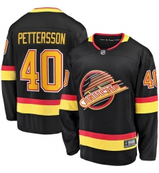 Men's Vancouver Canucks #40 Elias Pettersson Fanatics Branded Black 2019-20 Flying Skate Premier Breakaway Player Jersey