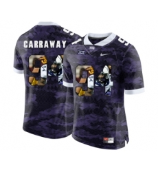 TCU Horned Frogs 94 Josh Carraway Purple With Portrait Print College Football Limited Jersey
