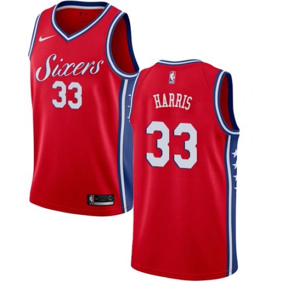 Men's Nike Philadelphia 76ers #33 Tobias Harris Red NBA Swingman Statement Edition Jersey