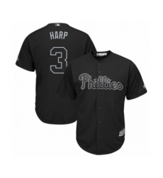 Men's Philadelphia Phillies #3 Bryce Harper  Harp  Authentic Black 2019 Players Weekend Baseball Jersey