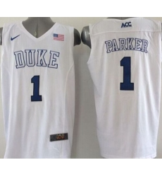 Blue Devils #1 Jabari Parker White Basketball Elite Stitched NCAA Jersey