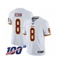 Men's Washington Redskins #8 Case Keenum White Vapor Untouchable Limited Player 100th Season Football Jersey