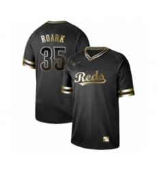 Men's Cincinnati Reds #35 Tanner Roark Authentic Black Gold Fashion Baseball Jersey