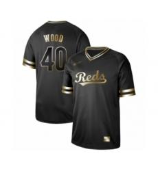 Men's Cincinnati Reds #40 Alex Wood Authentic Black Gold Fashion Baseball Jersey