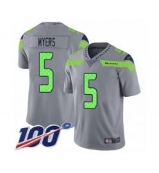 Men's Seattle Seahawks #5 Jason Myers Limited Silver Inverted Legend 100th Season Football Jersey