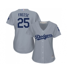Women's Los Angeles Dodgers #25 David Freese Authentic Grey Road Cool Base Baseball Jersey