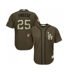 Youth Los Angeles Dodgers #25 David Freese Authentic Green Salute to Service Baseball Jersey