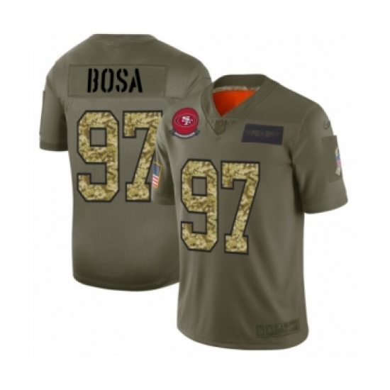 Men's San Francisco 49ers #97 Nick Bosa 2019 Olive Camo Salute to Service Limited Jersey