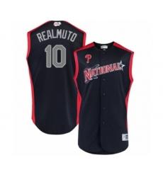 Men's Philadelphia Phillies #10 J. T. Realmuto Authentic Navy Blue National League 2019 Baseball All-Star Jersey