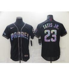 Men's San Diego Padres #23 Fernando Tatis Jr. Black 2021 Iridescent Logo Jersey Jersey