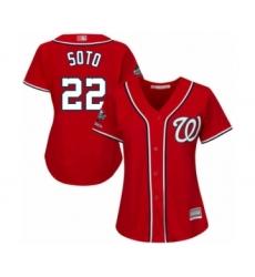 Women's Washington Nationals #22 Juan Soto Authentic Red Alternate 1 Cool Base 2019 World Series Champions Baseball Jersey