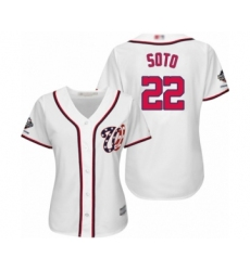 Women's Washington Nationals #22 Juan Soto Authentic White Home Cool Base 2019 World Series Champions Baseball Jersey